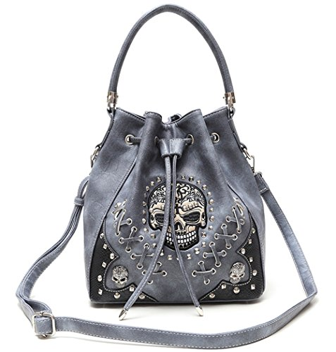 Cowgirl Trendy Western Style Concealed Carry Sugar Skull Punk Art Purse Handbag Shoulder Bag Grey