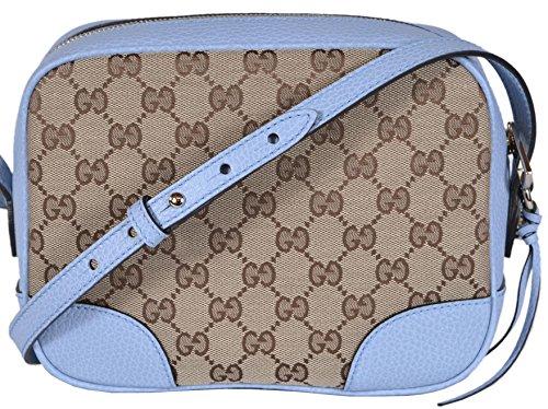 Gucci Women's Canvas Leather GG Guccissima Small Bree Crossbody Purse (Beige/Blue)