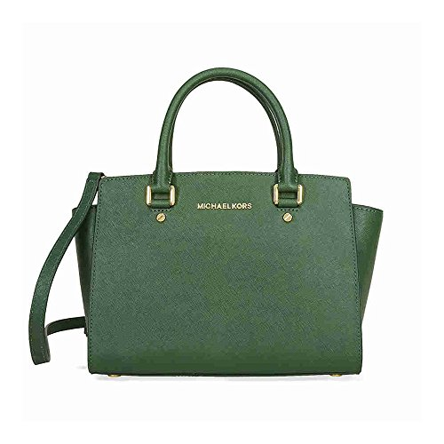 MICHAEL Michael Kors Selma Saffiano Leather Medium Satchel, Color Moss