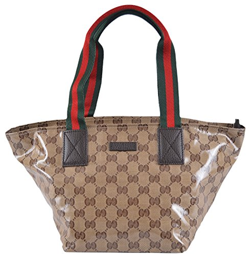 Gucci Crystal Canvas GG Guccissima Web Stripe Mini Zip Top Tote