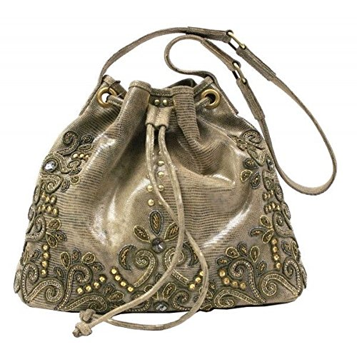 Mary Frances Day Tripper Light Footed Beaded Jewel Embossed Gold Bronze Leather Drawstring Shoulder Bag