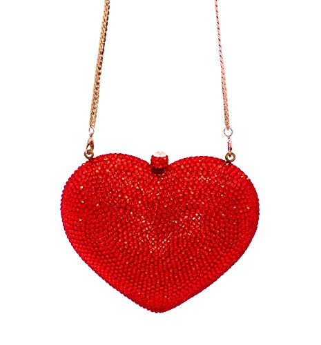 Celebrating You Heart Shaped Formal Evening Bag Wedding Party Crystal Bridal Clutch Pave' Minaudiere Red