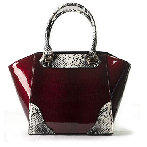 BRAVO Handbags, Elena Cherry Crocodile Print with Python Leather Trim Handles and Accents Tod Bag, Medium