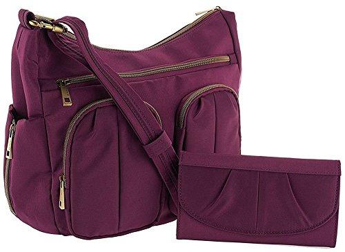 Travelon Anti-Theft Twin Pocket Bucket Bag – Aubergine