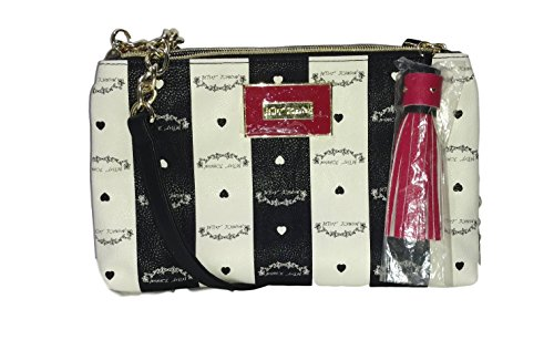 Betsey Johnson Double Zip Tassel Crossbody Handbag – 2 Sided Color