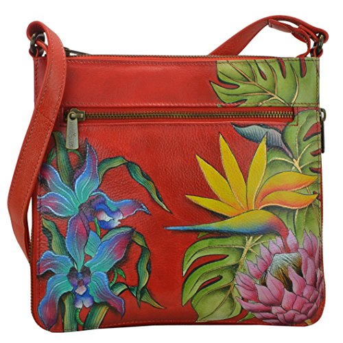 Anuschka Hand Painted Leather Expandable Travel Crossbody (550 Island Escape)