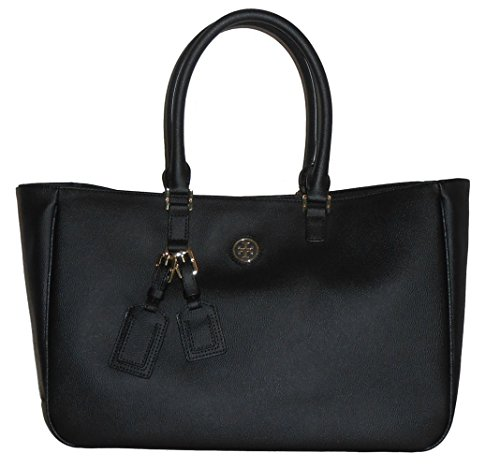 Tory Burch Roslyn Coated Canvas Black Tote