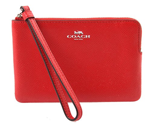 Coach Crossgrain Leather Corner Zip Wristlet in True Red, F58032 SVBRD