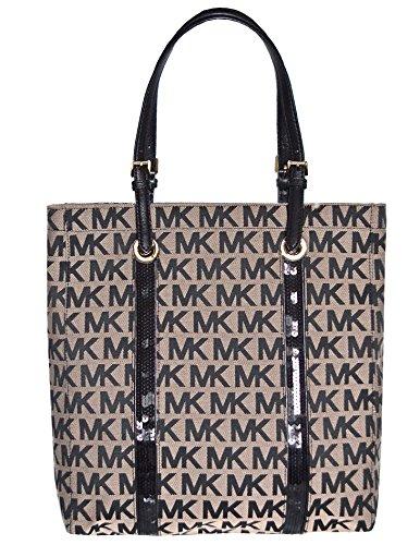 Michael Kors MK Signature Sequin Stripes NS Tote Shoulder Bag, Black