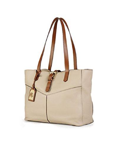 Lauren Ralph Lauren Landry Buckle Simple Tote Bag Purse Handbag, Stone/Bourbon