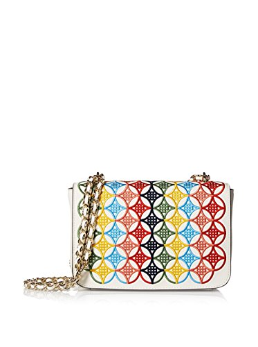 Tory Burch Women's Robinson Embroidered Adjustable Shoulder, Ivory/Multi