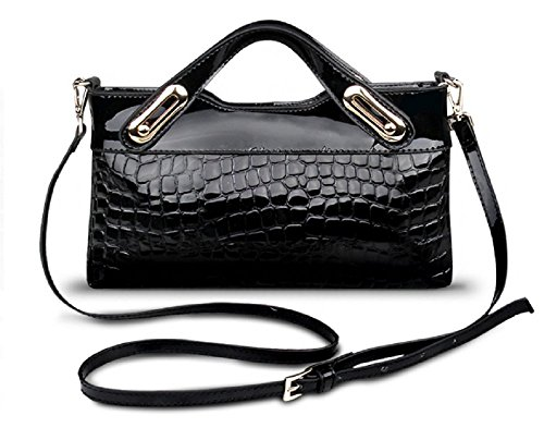 [Concierge Bag] Woman Crocodile Pattern 100% Cow Leather Top-Handles Bag Evening Purse
