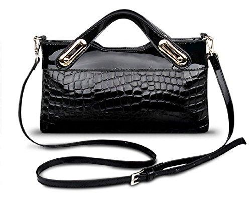 [Concierge Bag] Woman Crocodile Pattern 100% Cow Leather Top-Handles Bag Evening Purse