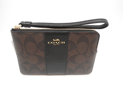 COACH F58035 CORNER ZIP WRISTLET IN SIGNATURE COATED CANVAS WITH LEATHER STRIPE BROWN BLACK
