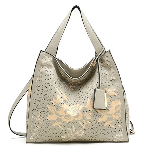 New Tosca USA Touch of Glitz, 3-Compartment Floral Hobo w/ Strap- Gray