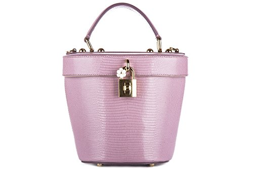 Dolce&Gabbana women's leather handbag shopping bag purse secchiello pink