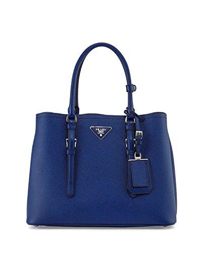 Prada Saffiano Leather Tote Handbag Ink Blue