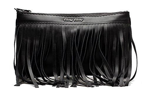 MIU MIU Women's Montana Calf Leather Fringe Clutch Handbag Purse Black