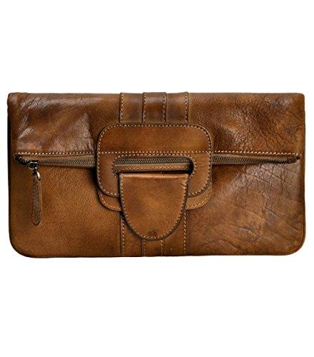 ZLYC Women Handmade Dip Dye Leather 3 Ways Use Handbag Folded Clutch Cross Body Bag, Brown