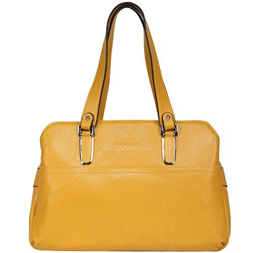 Banuce Soft Leather Tote Shoulder Bag Double Zippered Handbag