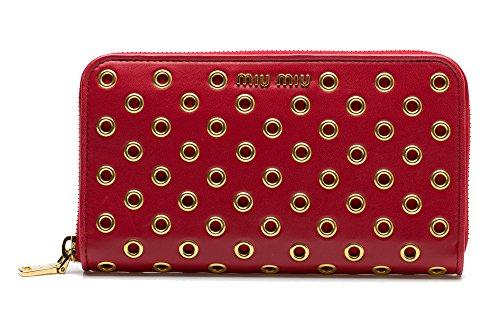 MIU MIU Women's Nappa Leather Clutch Zip Around Wallet Handbag Gold Rose Red