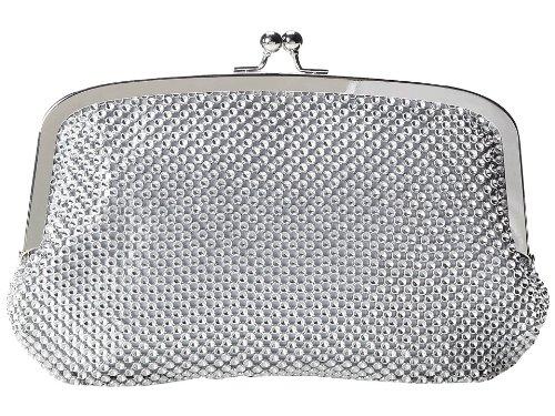 Jessica MyClintock Linda Beaded Metal Mesh Elegant Womens Evening Clutch Bag