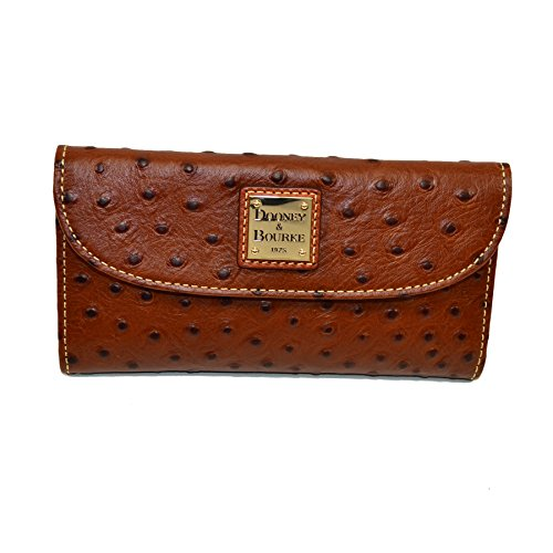 Dooney and Bourke Ostrich Emb Leather Continental Clutch Cognac