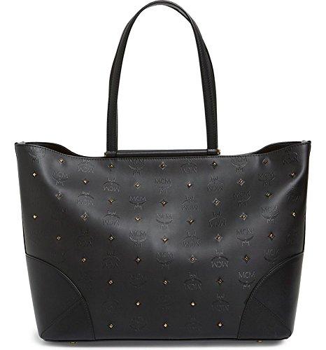 MCM Claudia Studded Shopper Medium Tote Black Logo