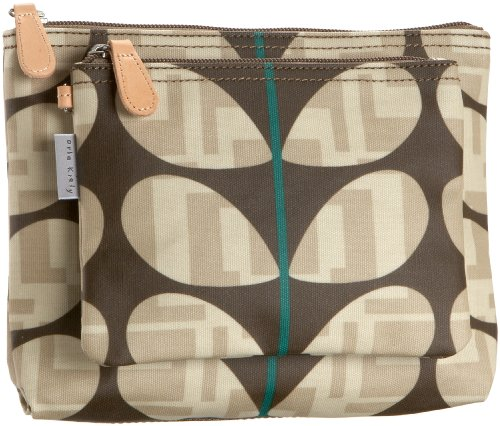 Orla Kiely Two-In-One Cosmetic Wash Bag Set,Chocolate,one size