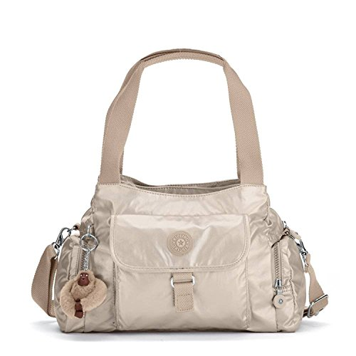 Kipling Womens Felix Large Metallic Handbag One Size Golden Rod Metallic