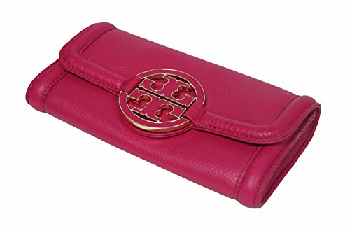 Tory Burch Wallet Leather Amanda Snap Continental Wallet – Carnation Red Magenta