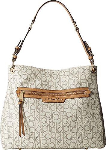 Calvin Klein Women's Hudson Monogram Hobo Almond/Khaki/Cashew Handbag