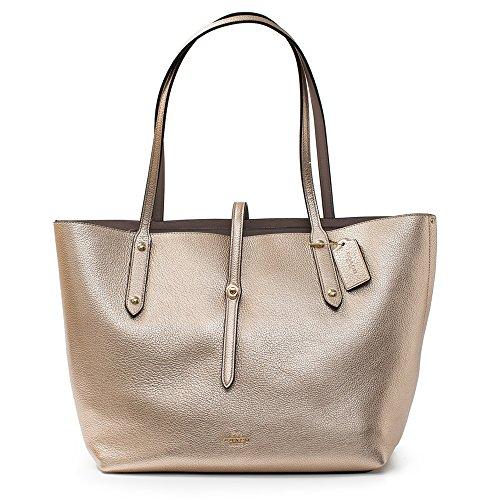 Coach Platinum Grey Birch Gold Market Tote Leather Bag New