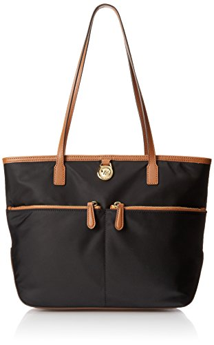 Michael Kors Kempton Medium Pocket Nylon Tote Handbag Black