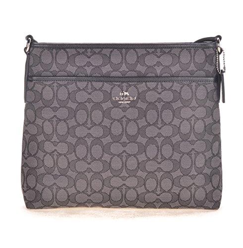Coach Outline Signature File Bag F58285 SV/BLACK SMOKE/BLACK Crossbody