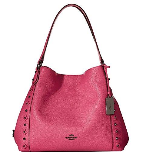 COACH Womens Floral Rivets Detail Edie 31 Shoulder DK/Dahlia Shoulder Bag