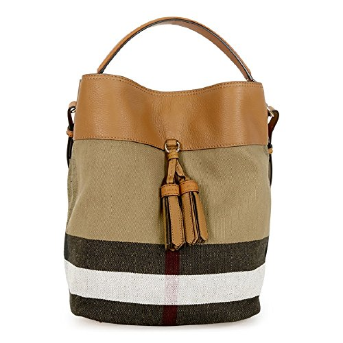 Burberry Asby Beige Canvas Check Hobo Handbag