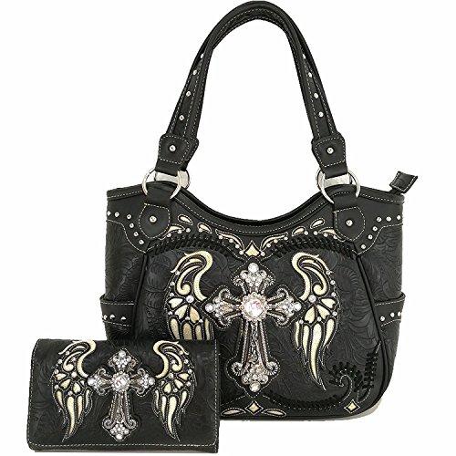 Cowgirl Western Women Concealed Carry Cross Wings Country Purse Handbag Shoulder Bag Wallet Set Black