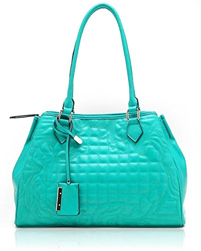 Tosca USA, Floral Quilted 3-Compartment Shoulder Tote – Mint
