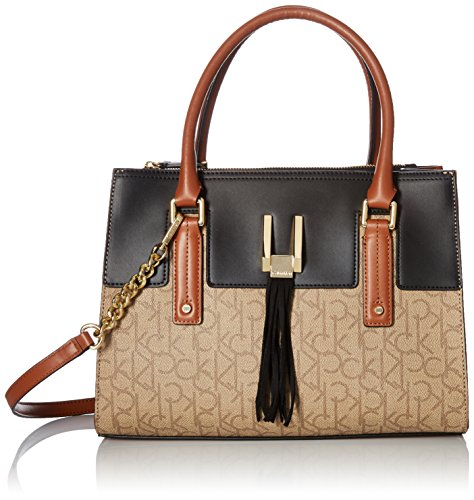 Calvin Klein Rae Monogram Satchel, Text Khaki Brown Combo