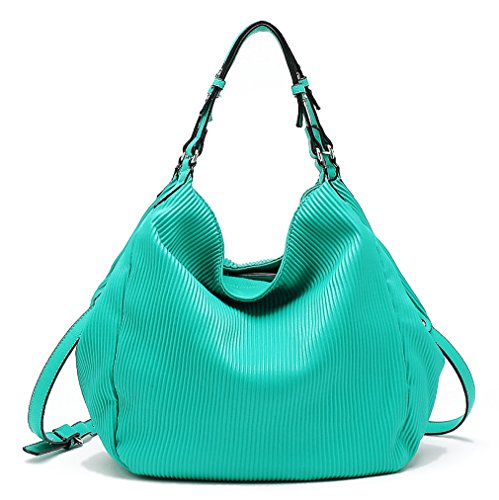 Tosca USA Elegant Pin-Stripe, 2-Handle Hobo w/ Crossbody Strap- Mint