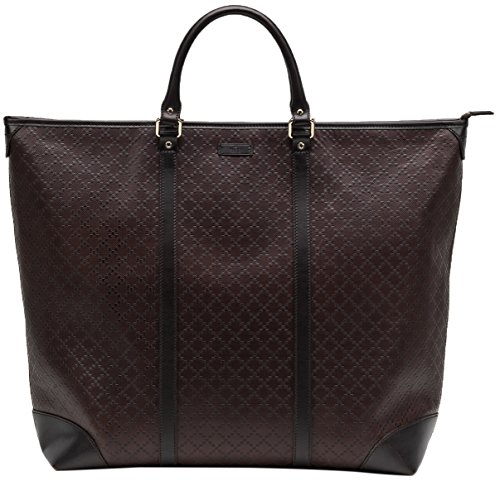 Gucci Brown GG Diamante 100% Leather Zip Large Top Handle Tote Bag