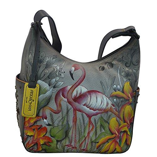 Anuschka Hobo with Side Pockets (Flamboyant Flamingos)