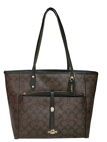 Coach City Zip Tote Handbag with Pouch in Crossgrain Leather F54700 Brown/Black