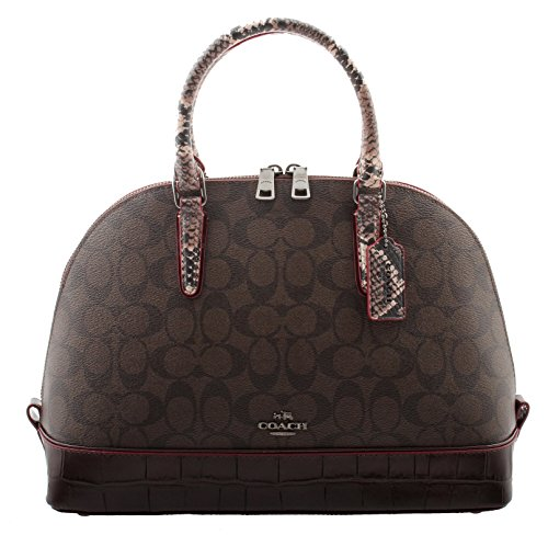 Coach Satchel Signature with Exotic Mix Trim in Brown/Oxblood, F38246 QBFDC