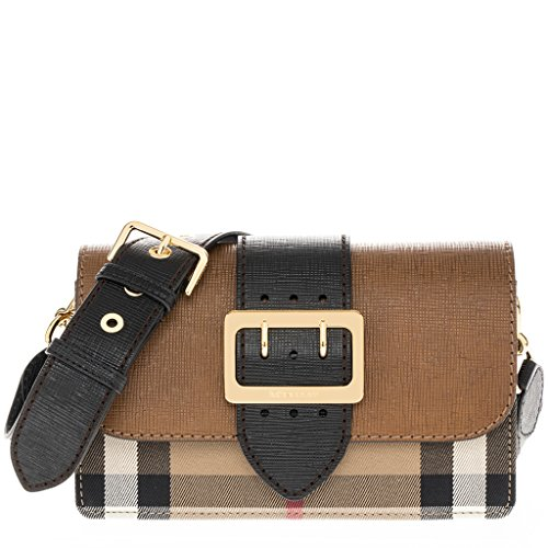 Burberry Women's Buckle Bag in House Check and Tan Black