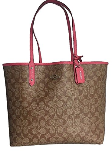 Coach Reversible City Tote Signature PVC Handbag Khaki / Strawberry