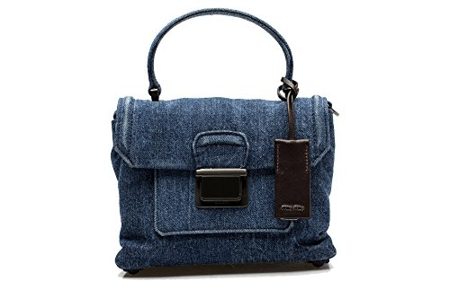 MIU MIU Women's Denim Flap Crossbody Shoulder Bag Handbag Purse Satchel Blue