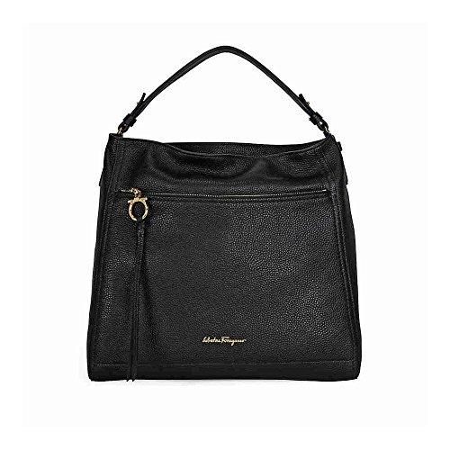 Salvatore Ferragamo Women's Large 'Gancio' Single-Strap Hobo Bag Black