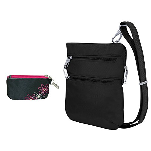 Travelon Anti-Theft Double Zip Crossbody Bag with RFID Blocking ID Wallet Pouch